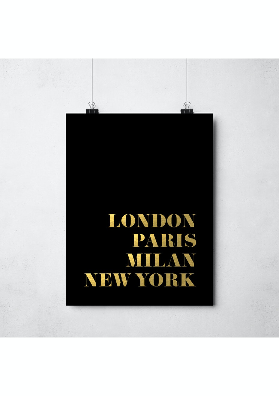 Simply Creative - Gold Fashion Capitals - A3 Gold Foil Print