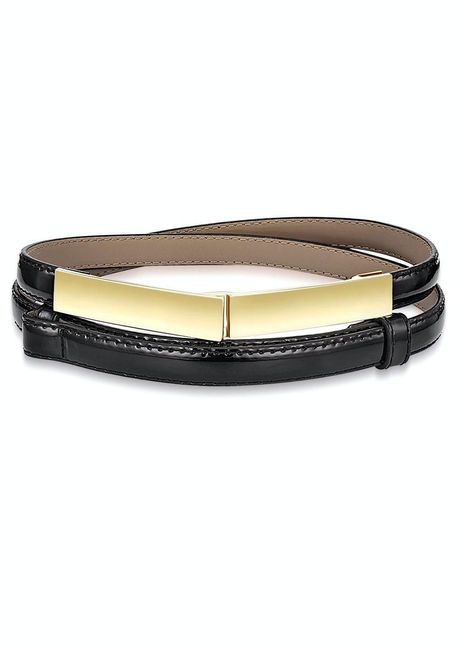 Genuine Cow Leather Skinny Waist Belt-Vogue black