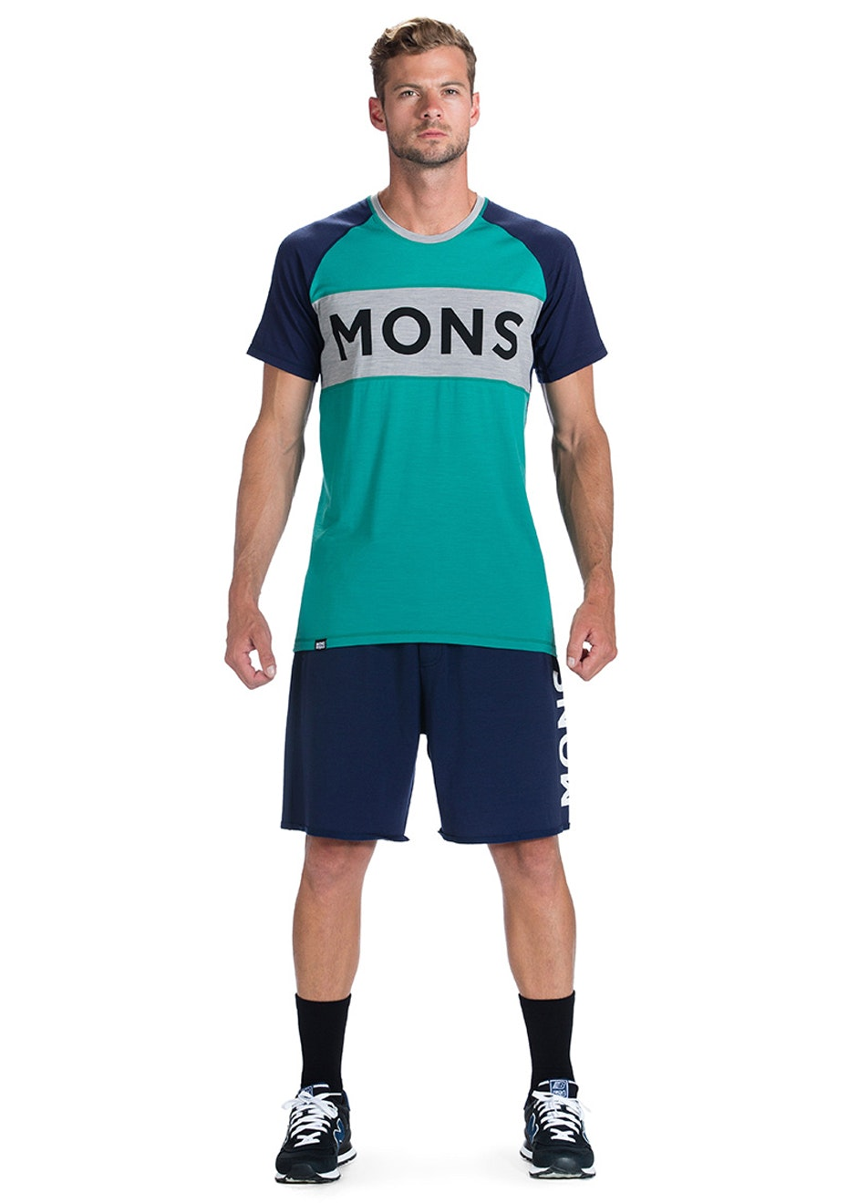MONS ROYALE - Mens - Tech T Icon - Bottle Green / Navy / Grey Marl