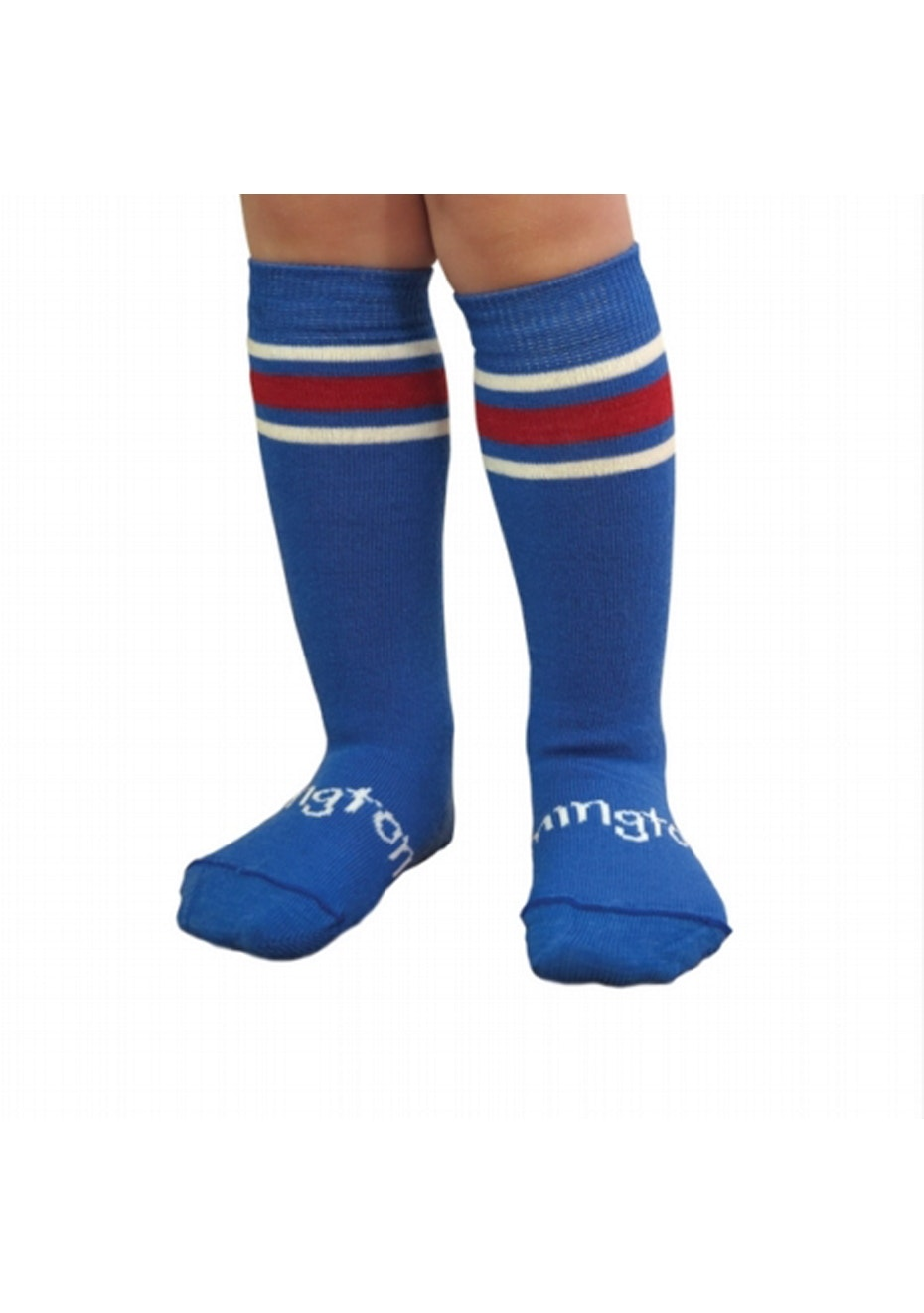 Lamington - Kids Wilson Socks - Blue with red and cream stripe at top