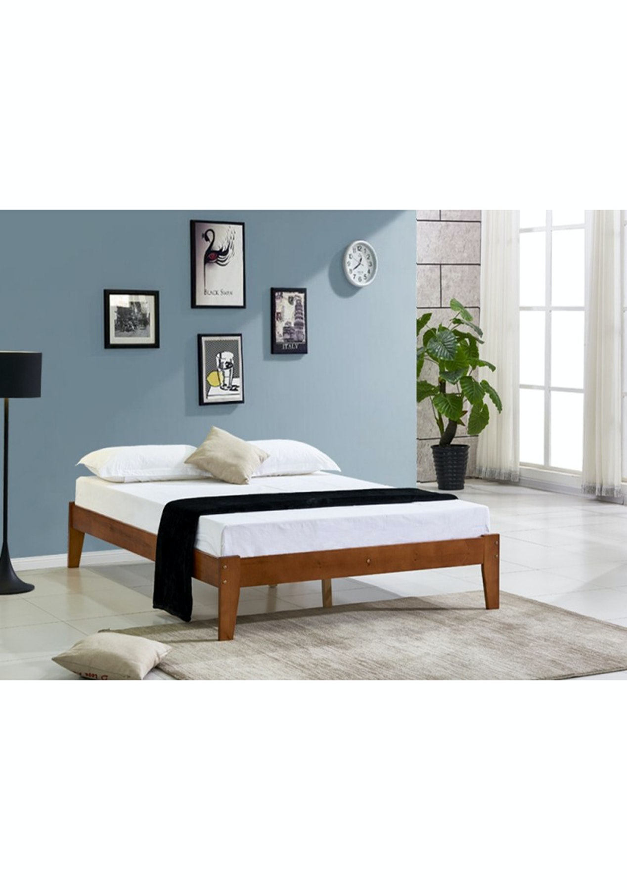 Meri Wooden Slat Bed Base Queen Oak Summer Bed Refresh Onceit