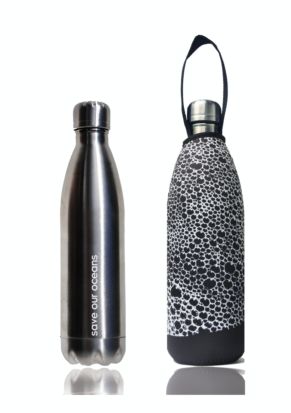 BBBYO - Future Bottle + Carry Cover (Bubble Print) 1000 ml Silver