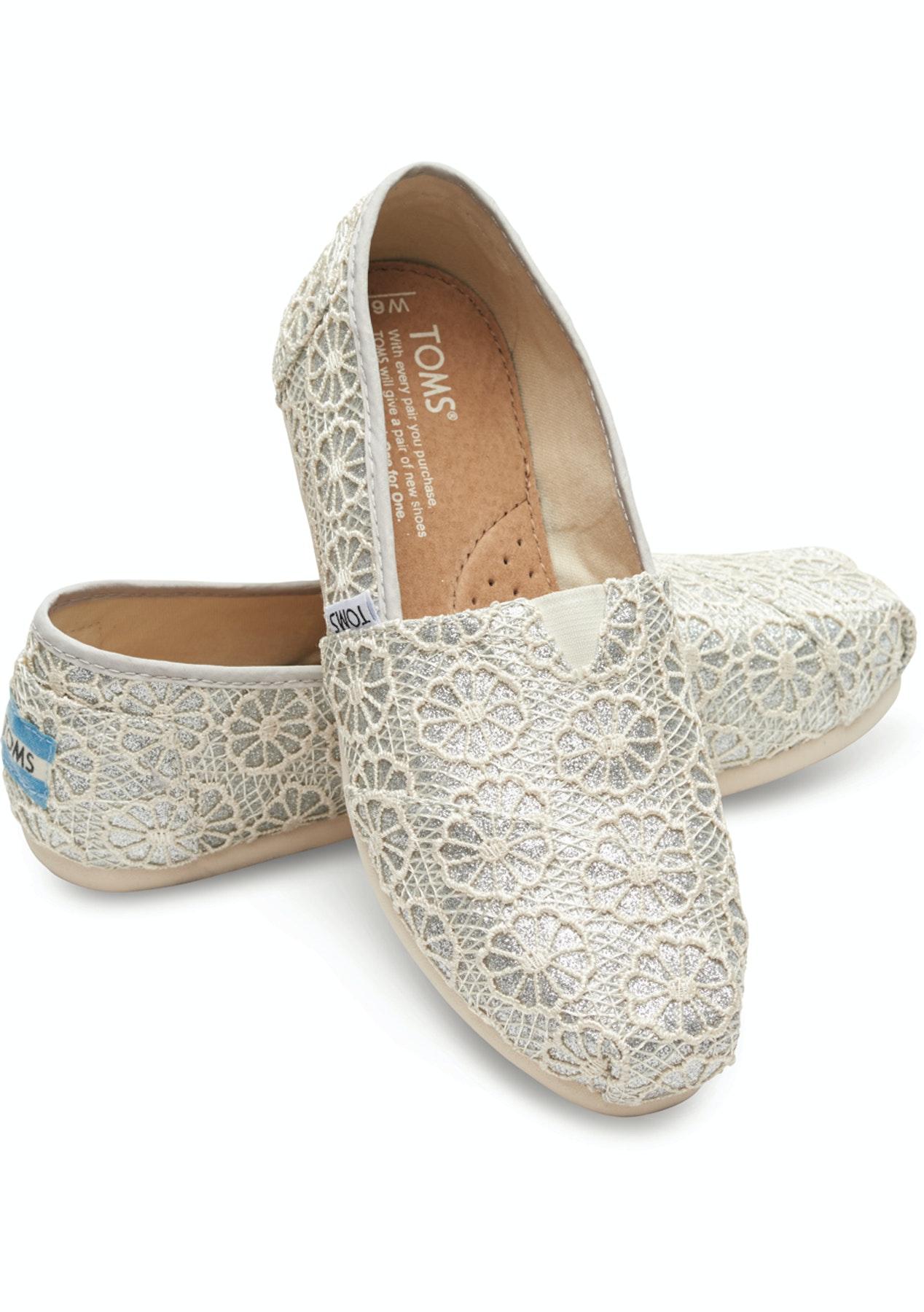 Toms Alpargata Silver Crochet Glitter Womens Shoes Onceit