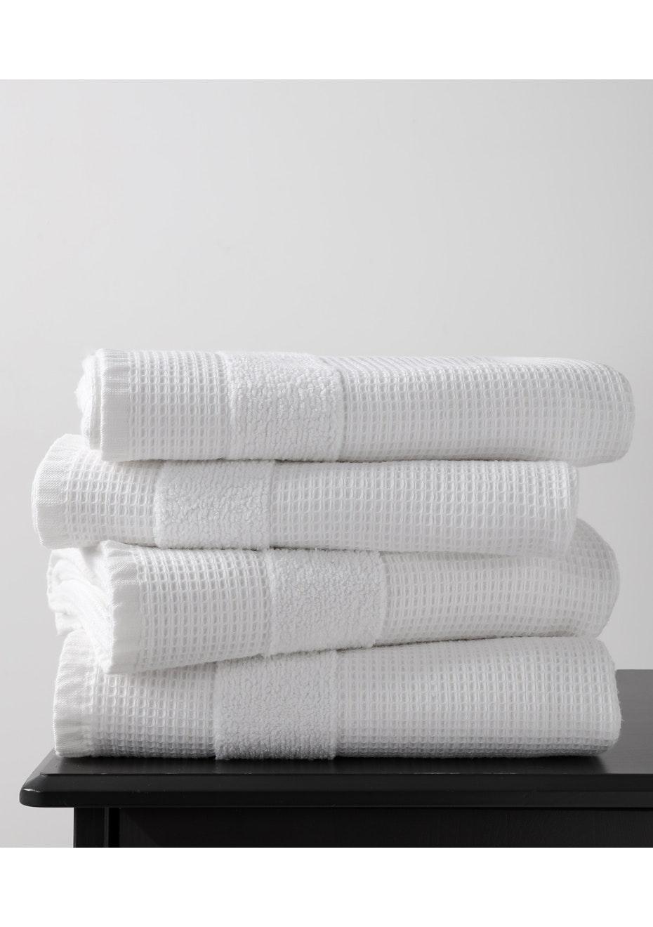 2 Pack White 600gsm Waffle Bath Sheet