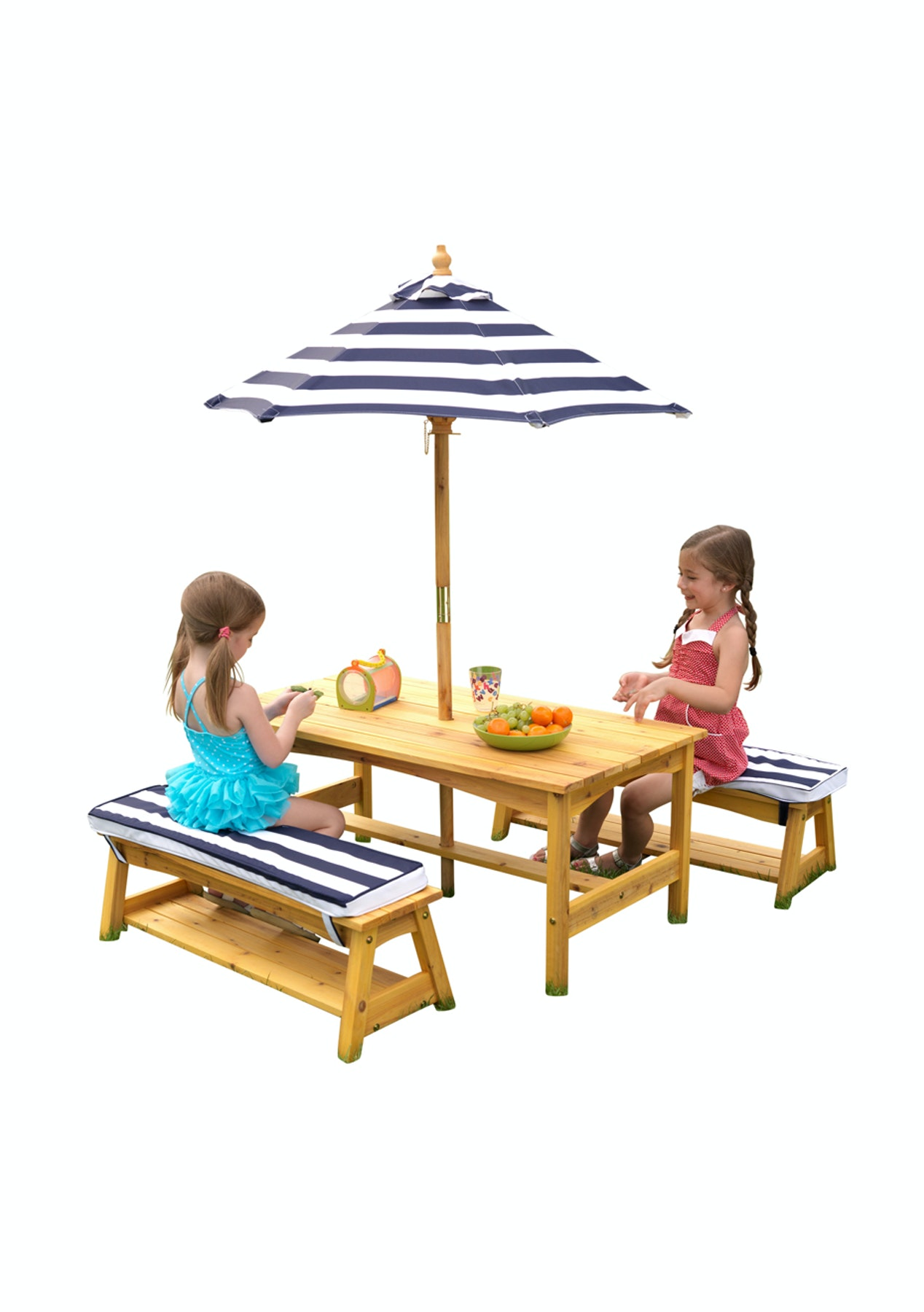 Childrens Outdoor Picnic Table And Bench Seat With Umbrella The