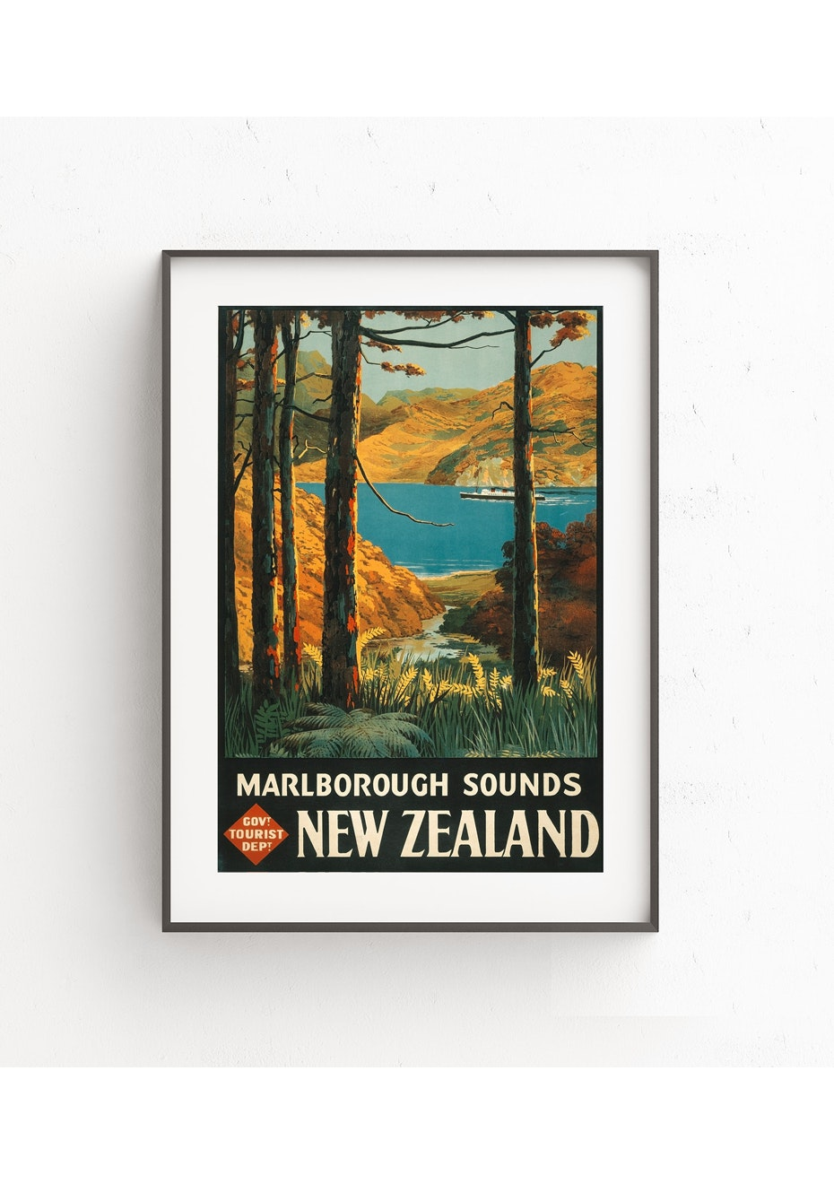 Marlborough Sounds Vintage Tourist Print - A2