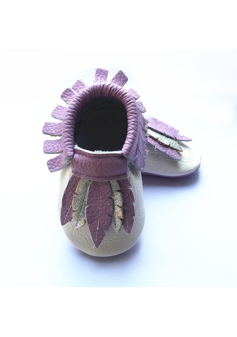 Baby  Leather Shoes - Lavendar/Beige/Silver