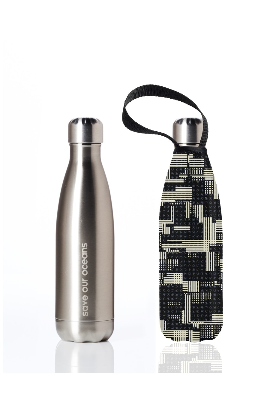 BBBYO - Future Bottle+ Carry Cover (Zip Print) - 500 ml Silver