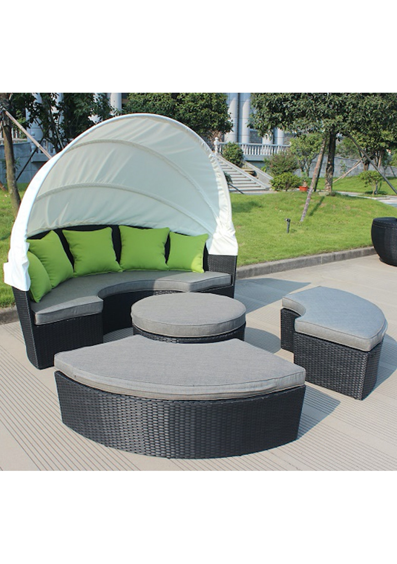 Multifunctional Outdoor Daybed Set With Canopy Outdoor