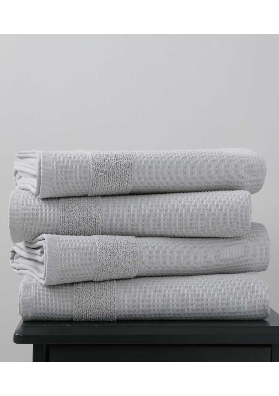 4 Pack Silver 600gsm Waffle Bath Towel