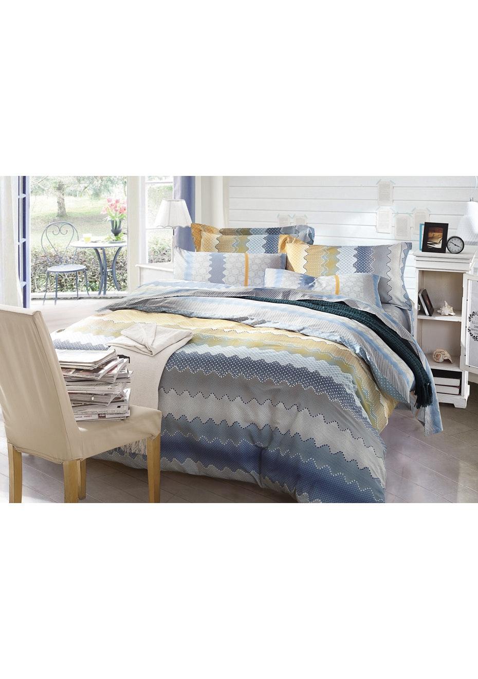 Harper Quilt Cover Set - Reversible Design - 100% Cotton Single Bed