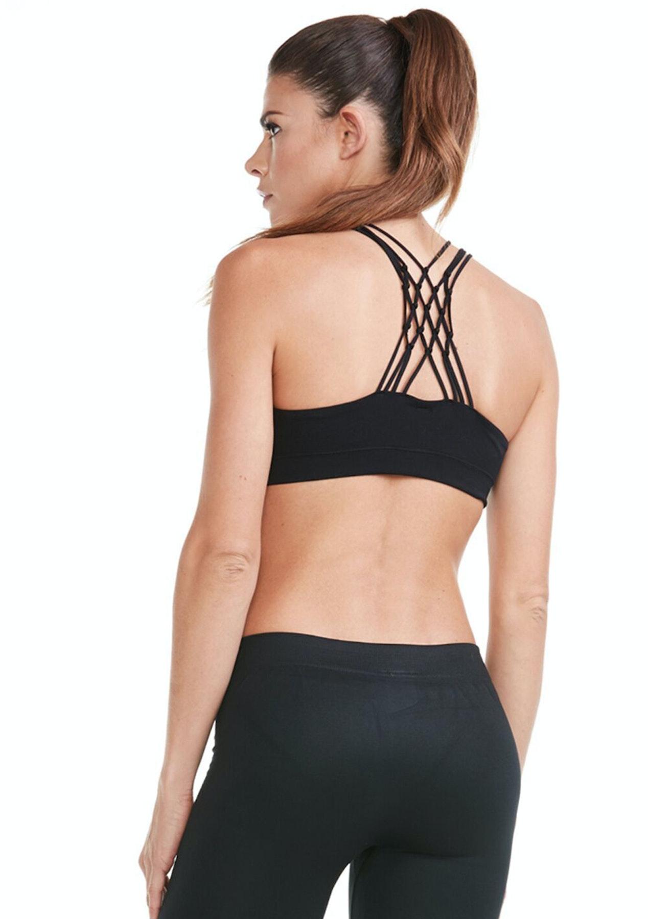 980676b9cdcc39 Electric Yoga - Diamond Back Bra - Black - Monochrome   Metallic Activewear  - Onceit