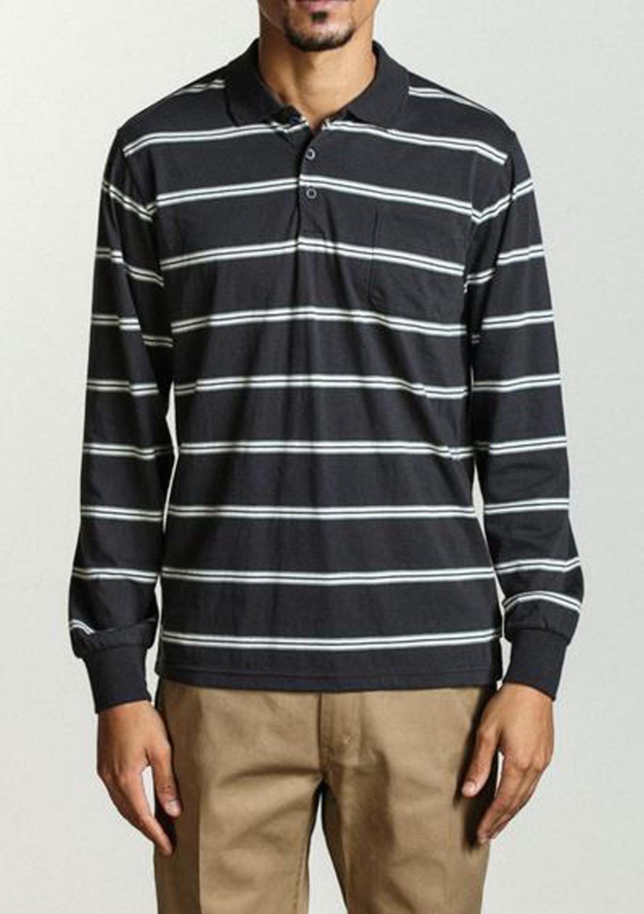 806b5b024 Brixton - Noah Longsleeve Polo Knit - Washed Black - Mens Mixed Designer  Clearance - Onceit