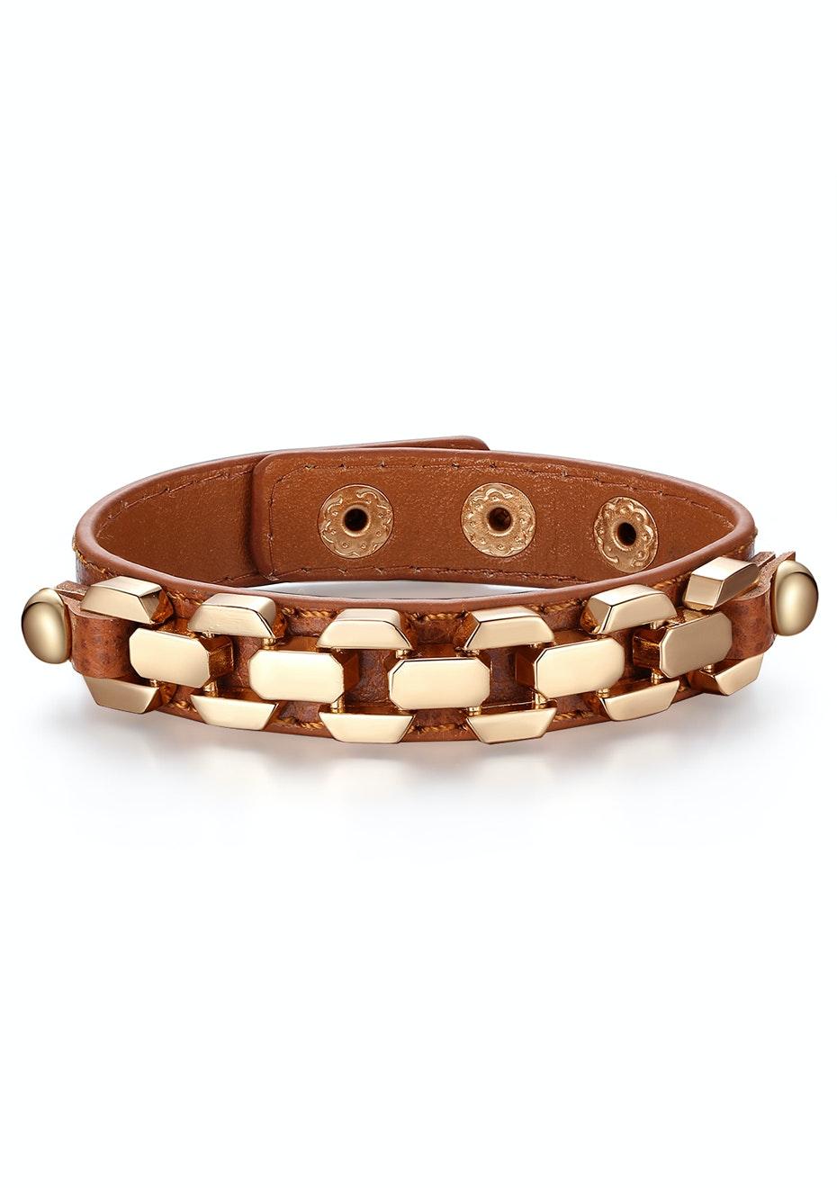 Genuine Cow Leather Link Bracelet -BRW