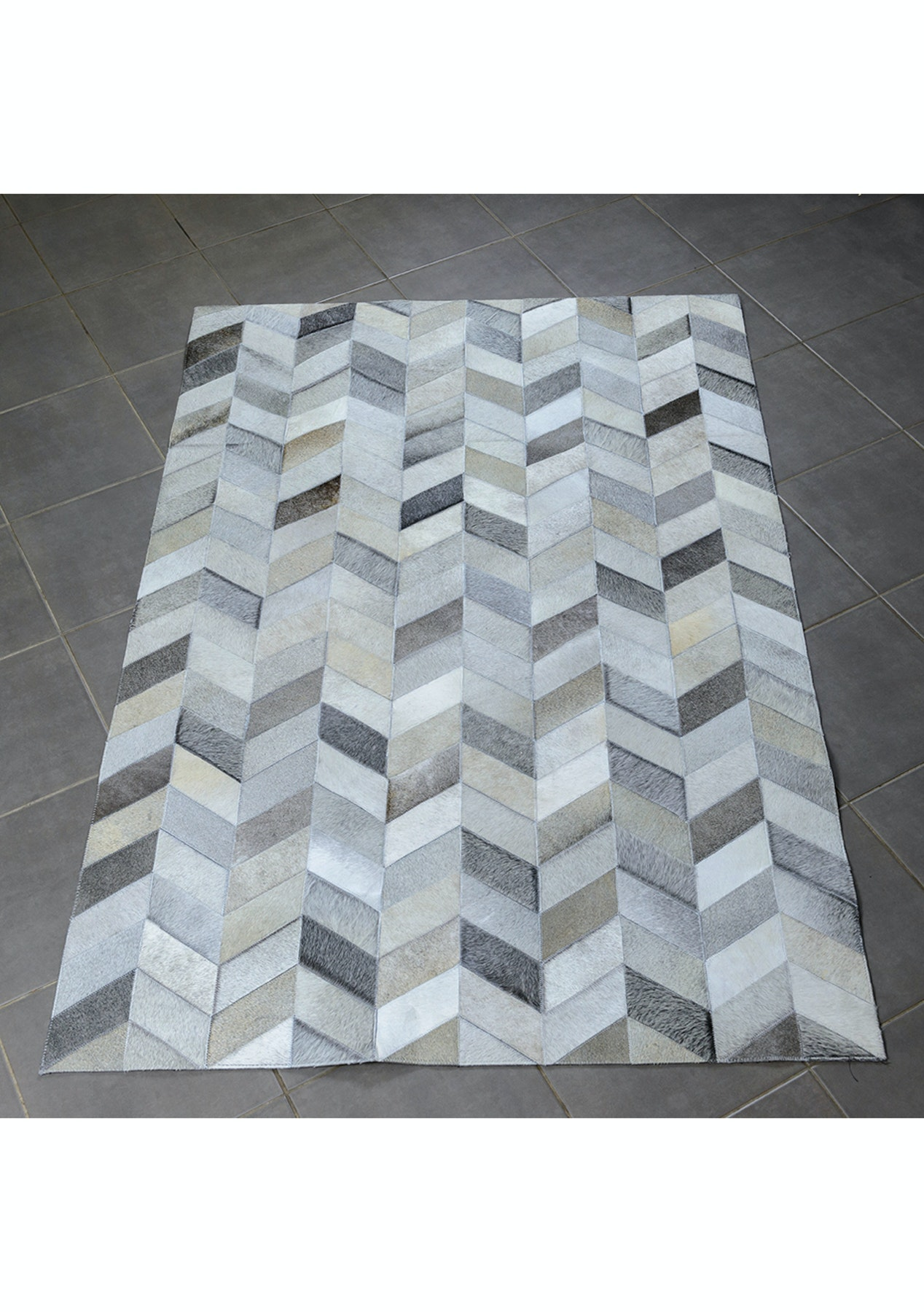 150x220 Cm Genuine Cow Hide Herringbone Patchwork Rug
