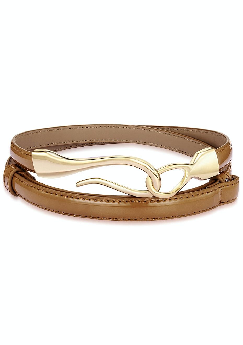 Genuine Cow Leather Skinny Waist Belt-Aurora brown