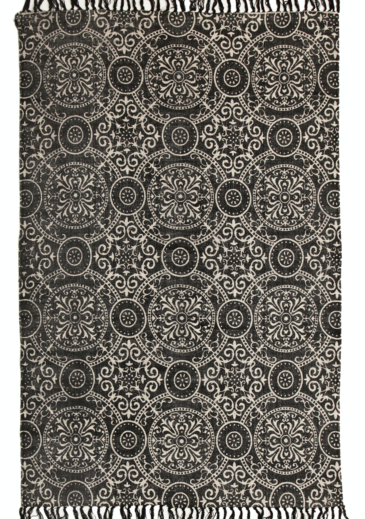 Logan b w stonewashed cotton tribal circles fringed rug 270x180cm rugs 299 under onceit