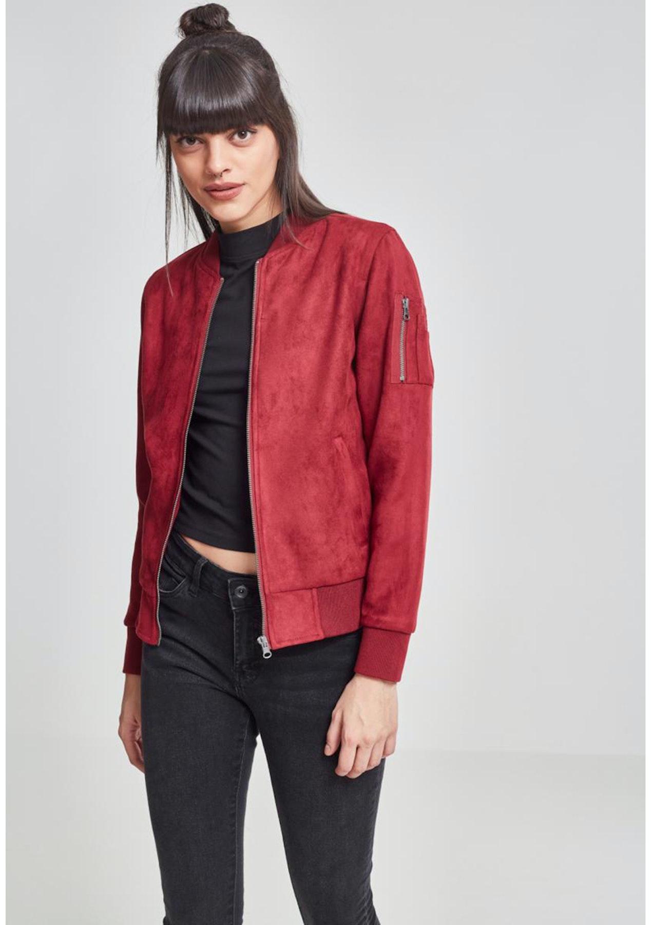 27721021920b Urban Classics - Womens Imitation Suede Bomber Jacket - Burgundy - The  Streetwear Edit - Onceit