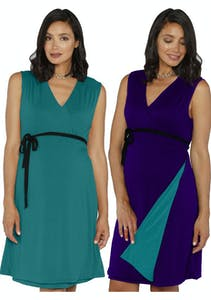 b8c19529bebec Angel Maternity - Maternity Reversible Wrap Nursing Dress Purple/ Teal