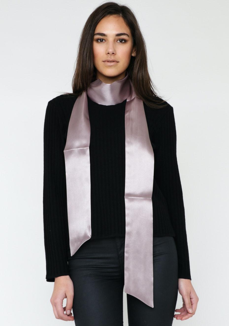 Satin Solid Skinny Tie Scarf - Smoke