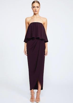 661668274bc Shona Joy - Core Strapless Frill Dress - Aubergine