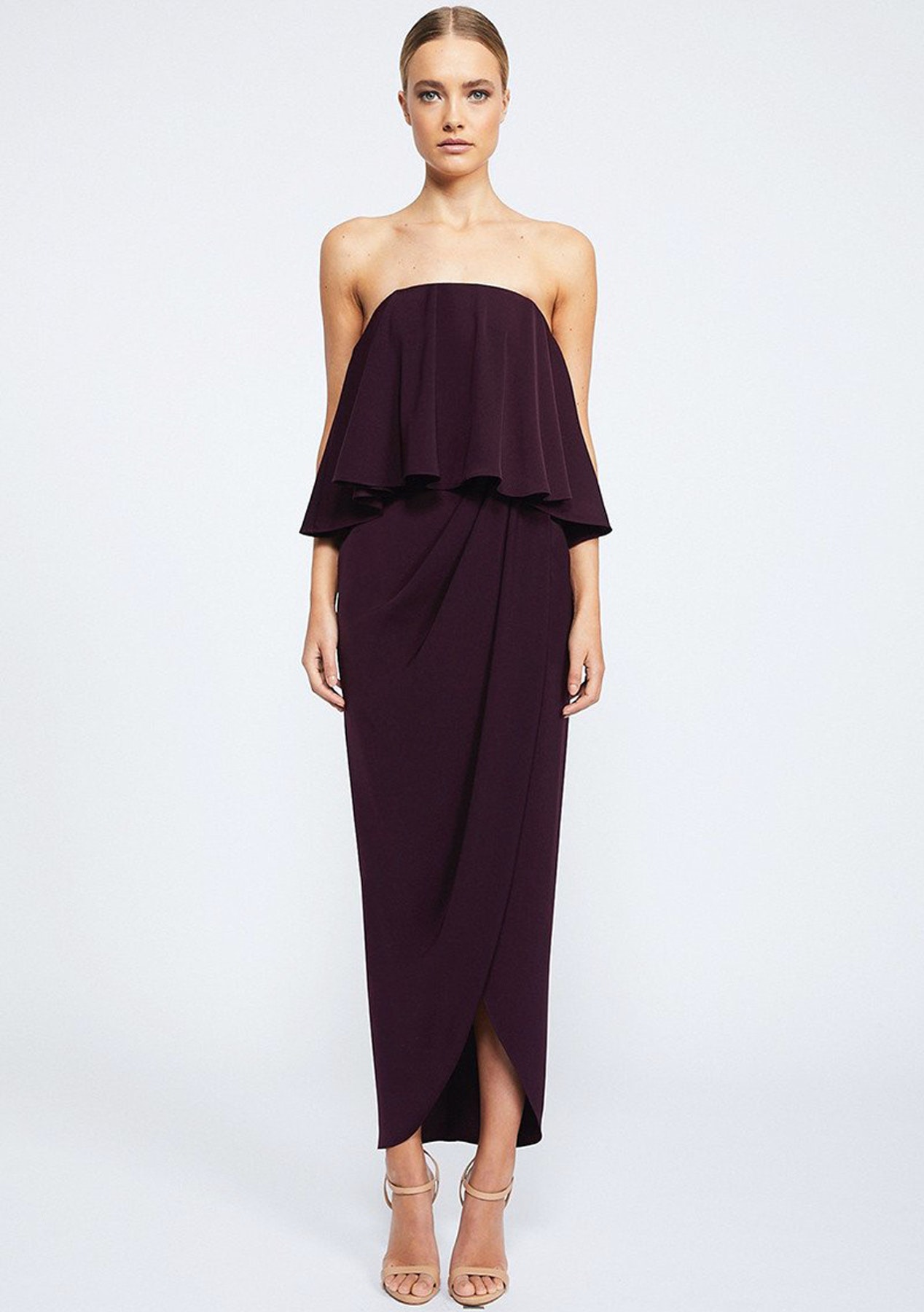 60415c5da98 Shona Joy - Core Strapless Frill Dress - Aubergine - Same Day Shipping Cocktail  Dresses   Shoes - Onceit