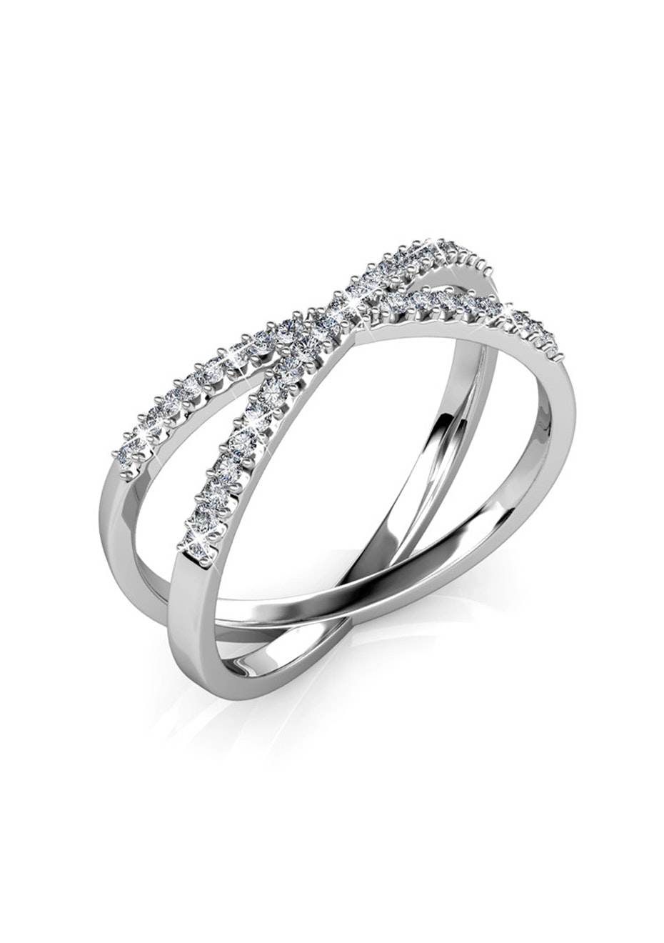 Revolve White Gold Ring Embellished with Crystals from Swarovski