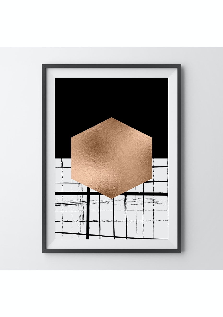 Simply Creative - Hexagonal - A3 Copper Foil Print