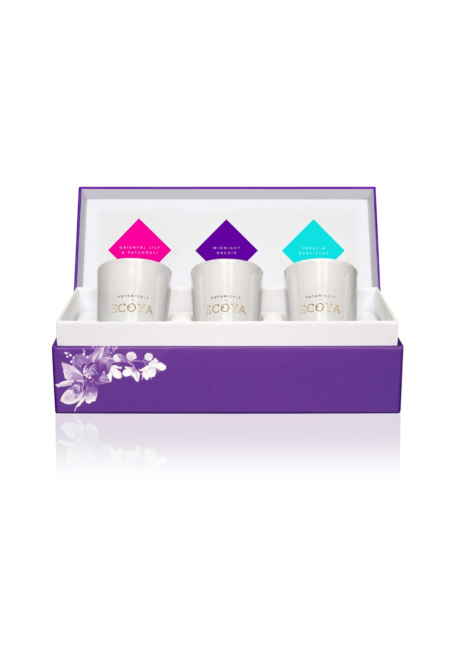Ecoya - 3 x Mini Botanic Gift Set - Midnight Orchid, Coral & Narcissus, Oriental Lily & Patchouli