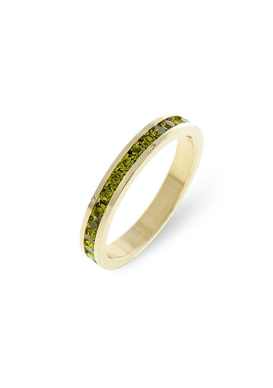 Stackable Ring - 14k Gold w Royal Green Embellished with Crystals from Swarovski