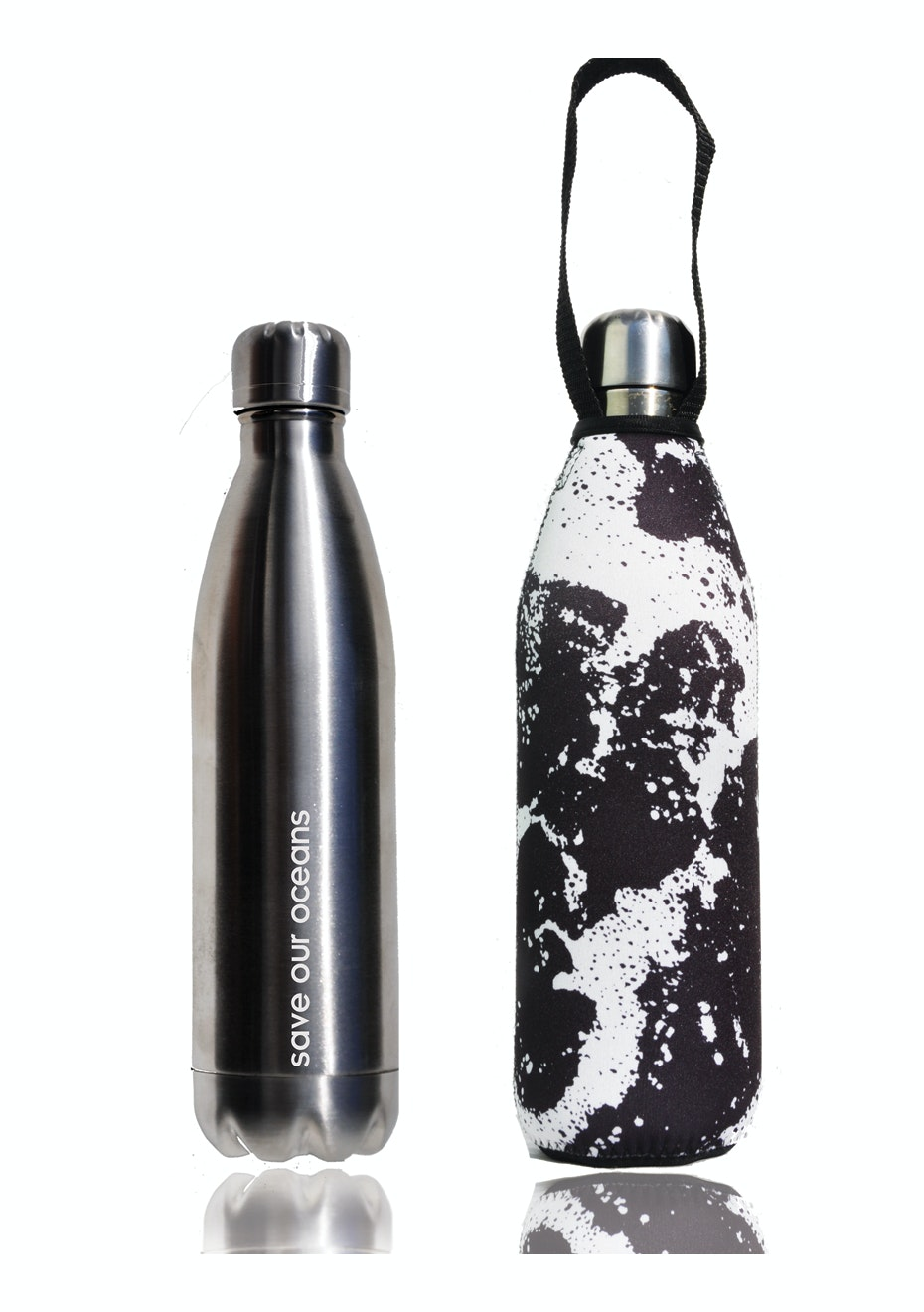 BBBYO - Future Bottle + Carry Cover (Whitewater Print) 1000 ml Silver