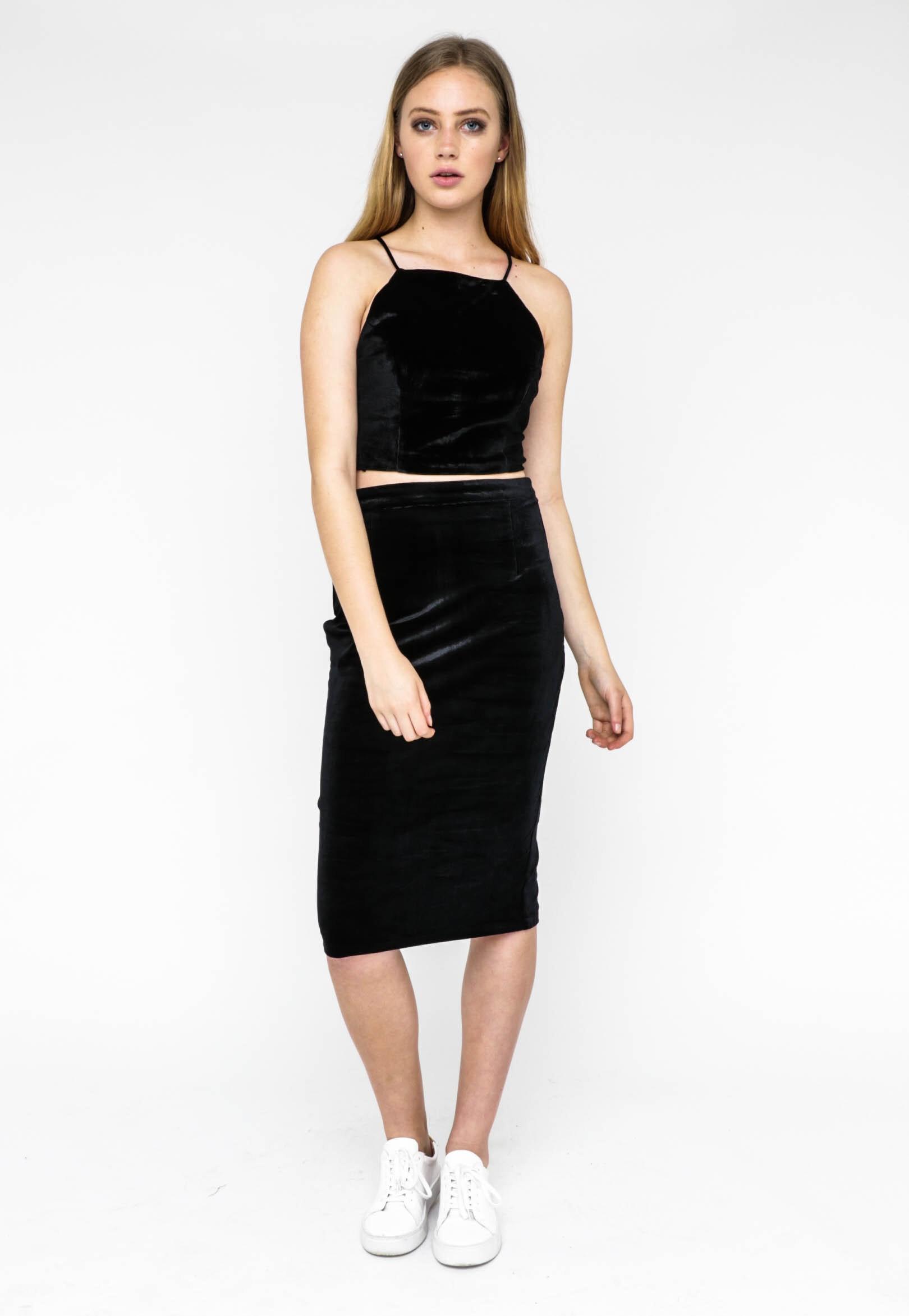 Jorge - Jade Velvet Midi Skirt - Black