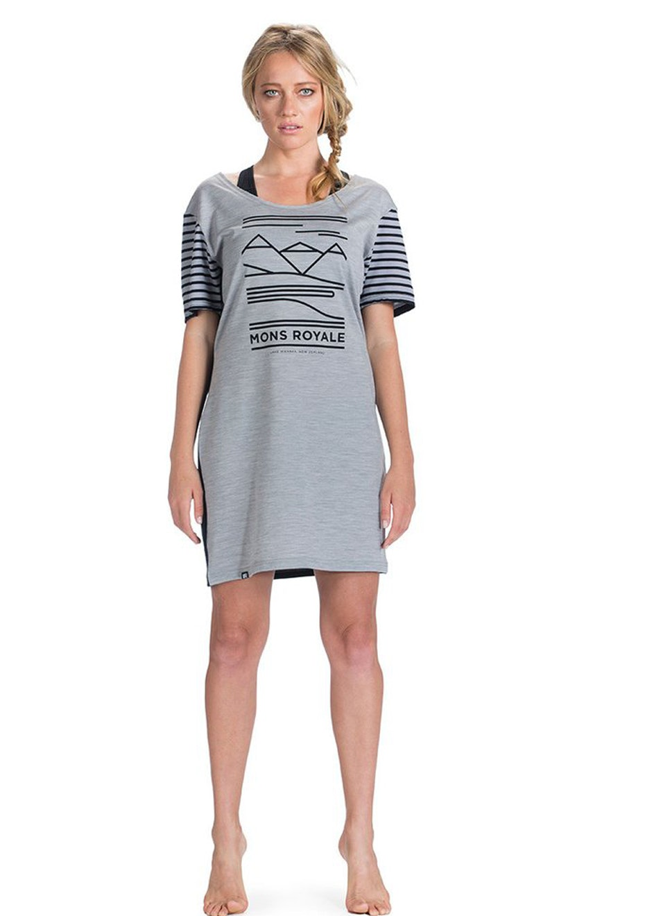 MONS ROYALE - Womens - Sunset Dress Mountain abstract - Grey Marl / Black / Black Stripe