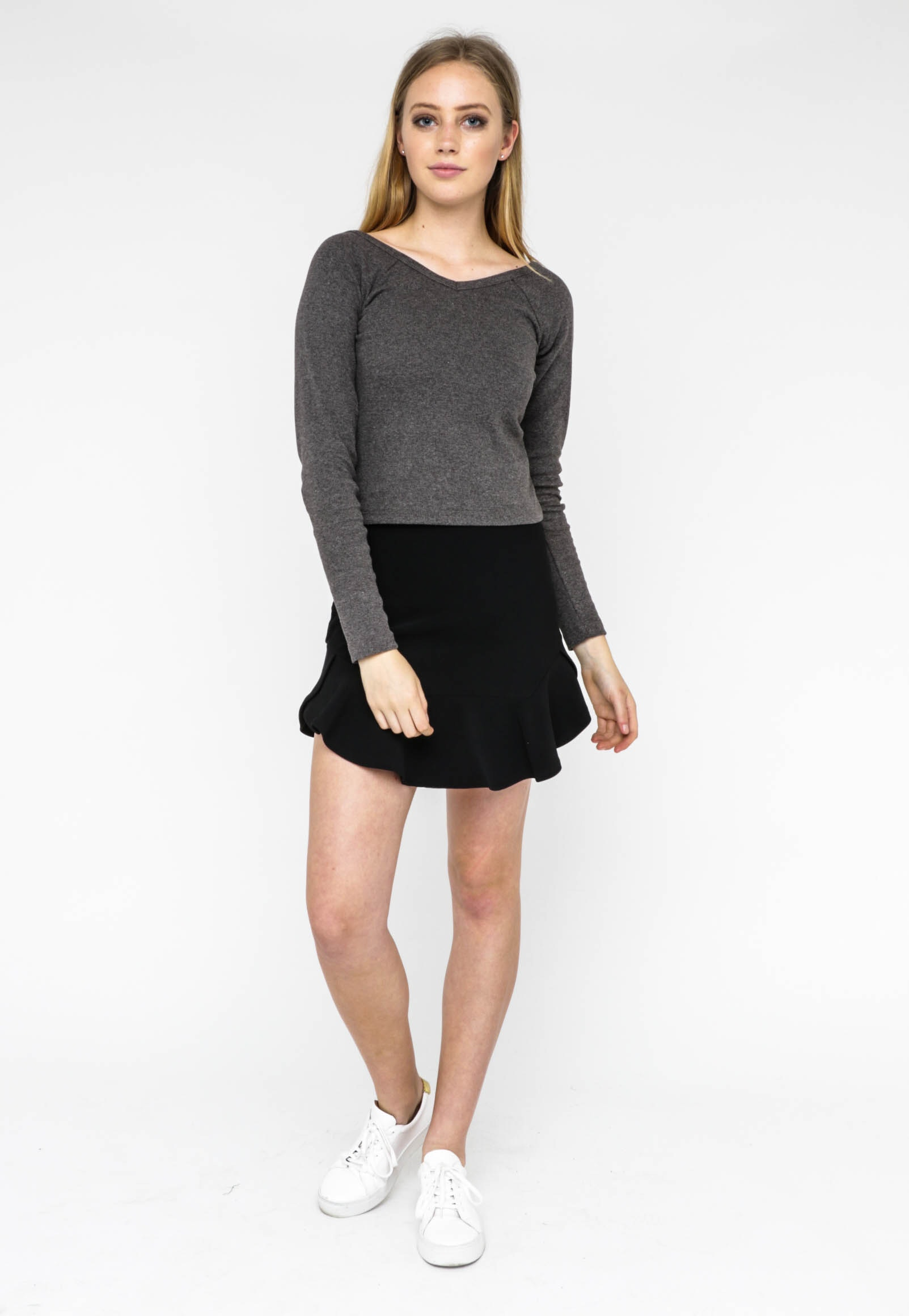 All About Eve - Mindy V Neck Crop - Mid Grey Marle