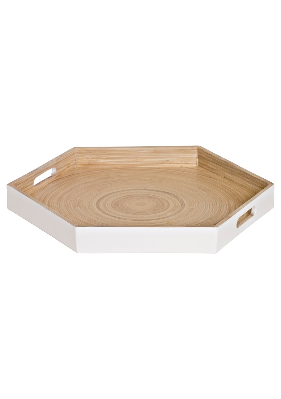 Lacquered Metallic Tray - White/Wood