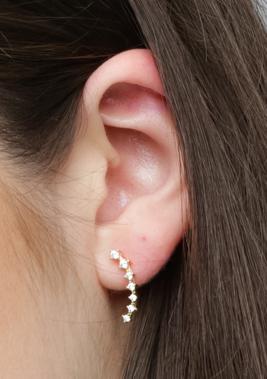 Dia Climber Ear Cuff - 925 Gold Plated