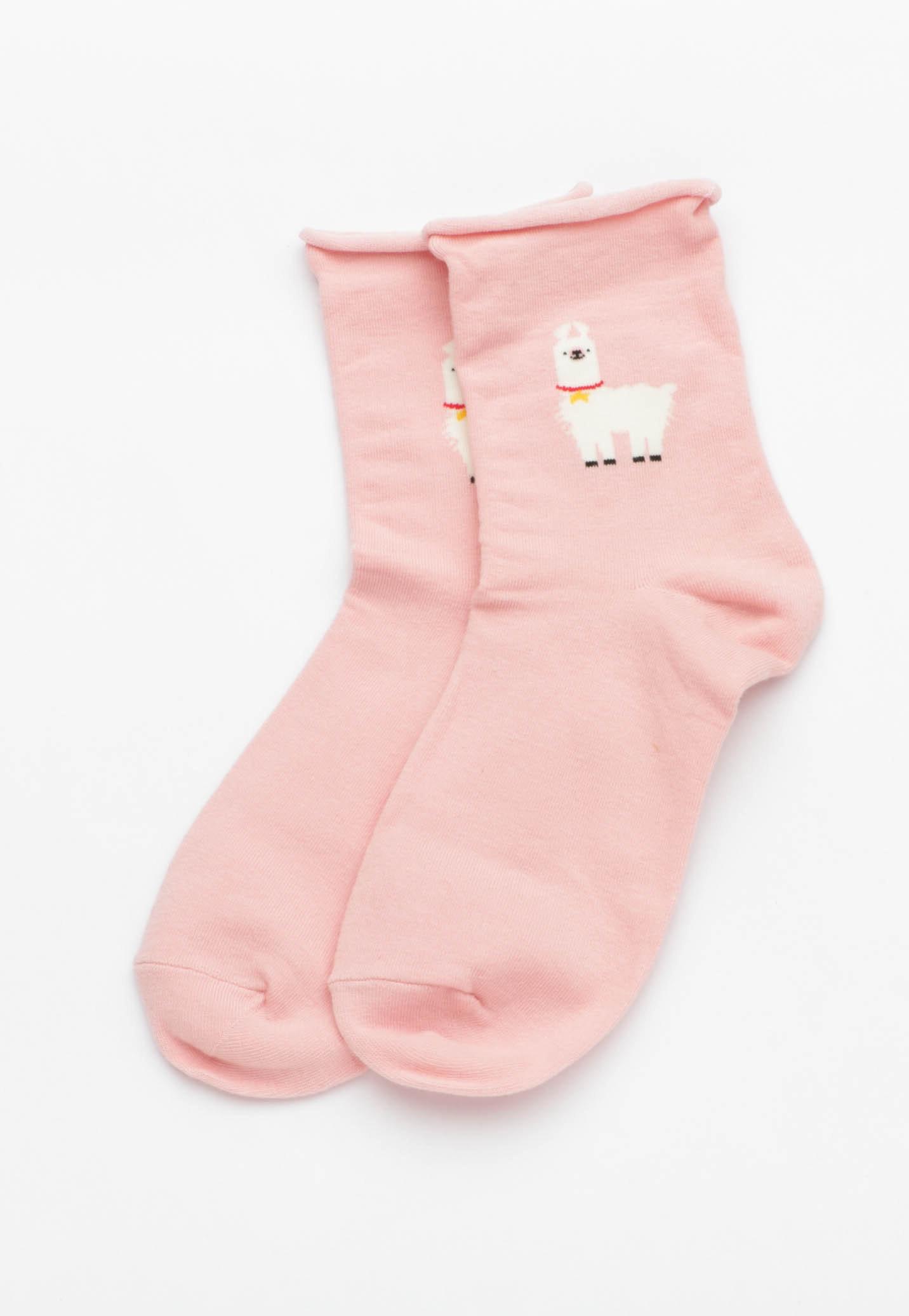 Llama Socks - Blush