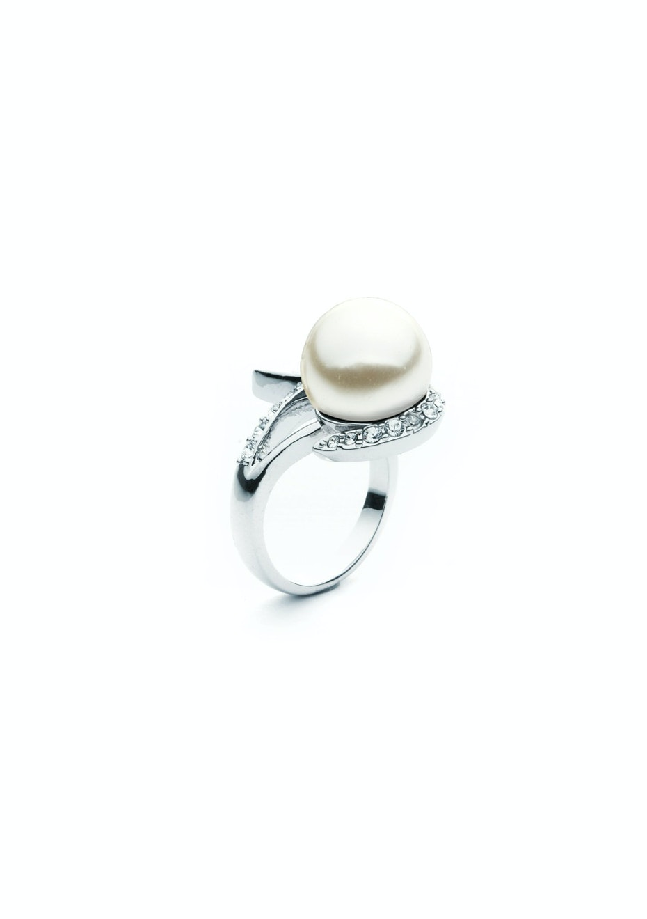 Pearl Encusted Ring Embellished with Crystals from Swarovski