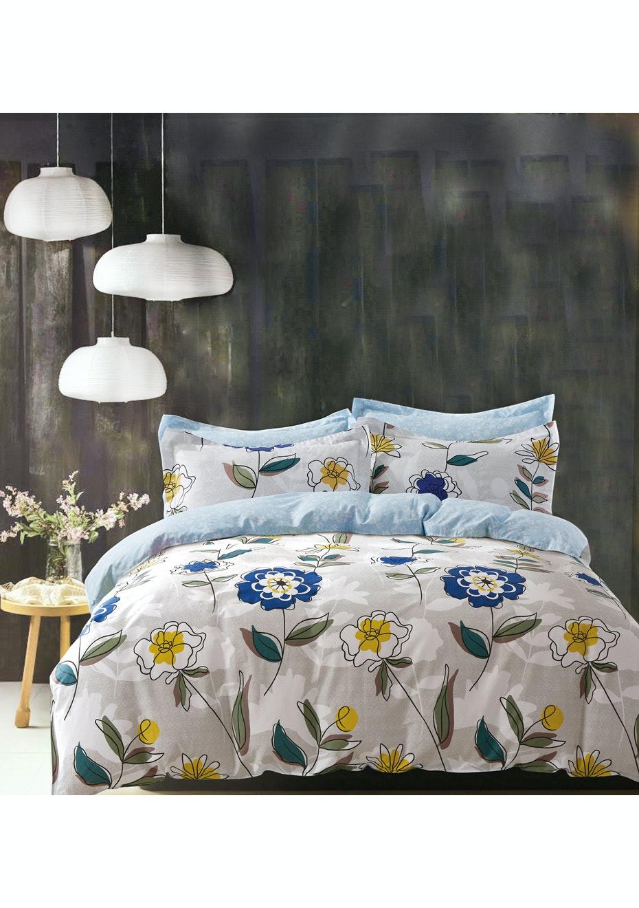 Jillian Quilt Cover Set - Reversible Design - 100% Cotton Double Bed