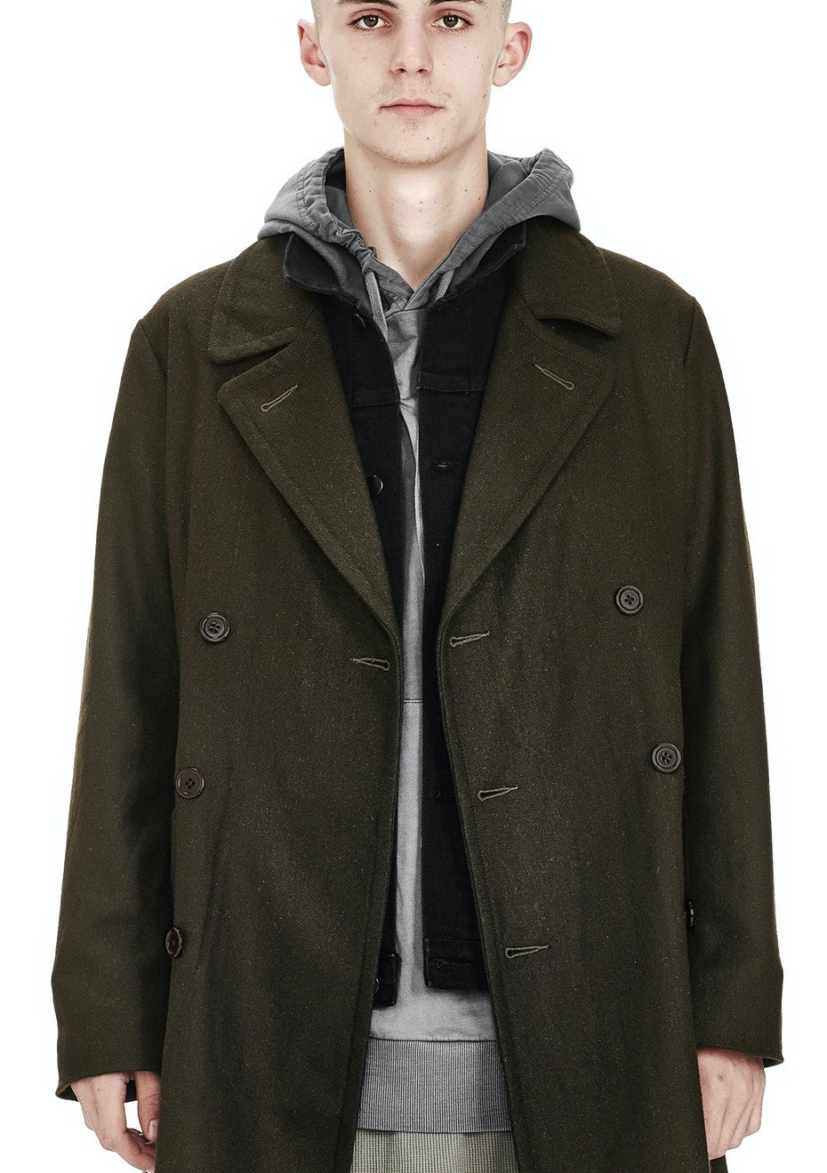 Commoners - MENS DOUBLE BREASTED COAT - MILITARY GREEN