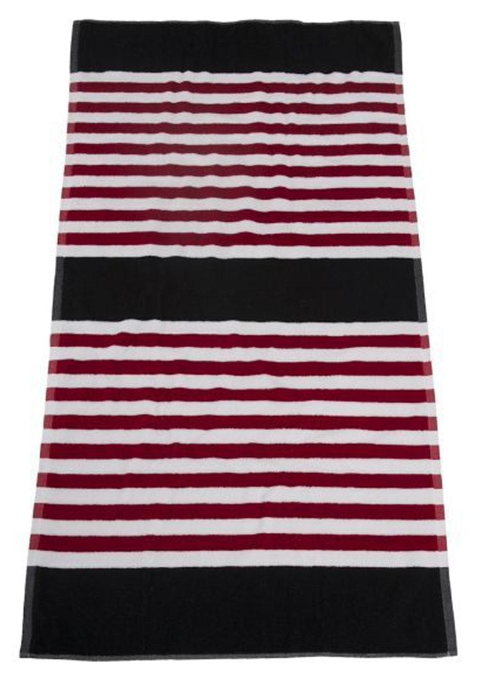 Seaside Stripe Beach Towel Black