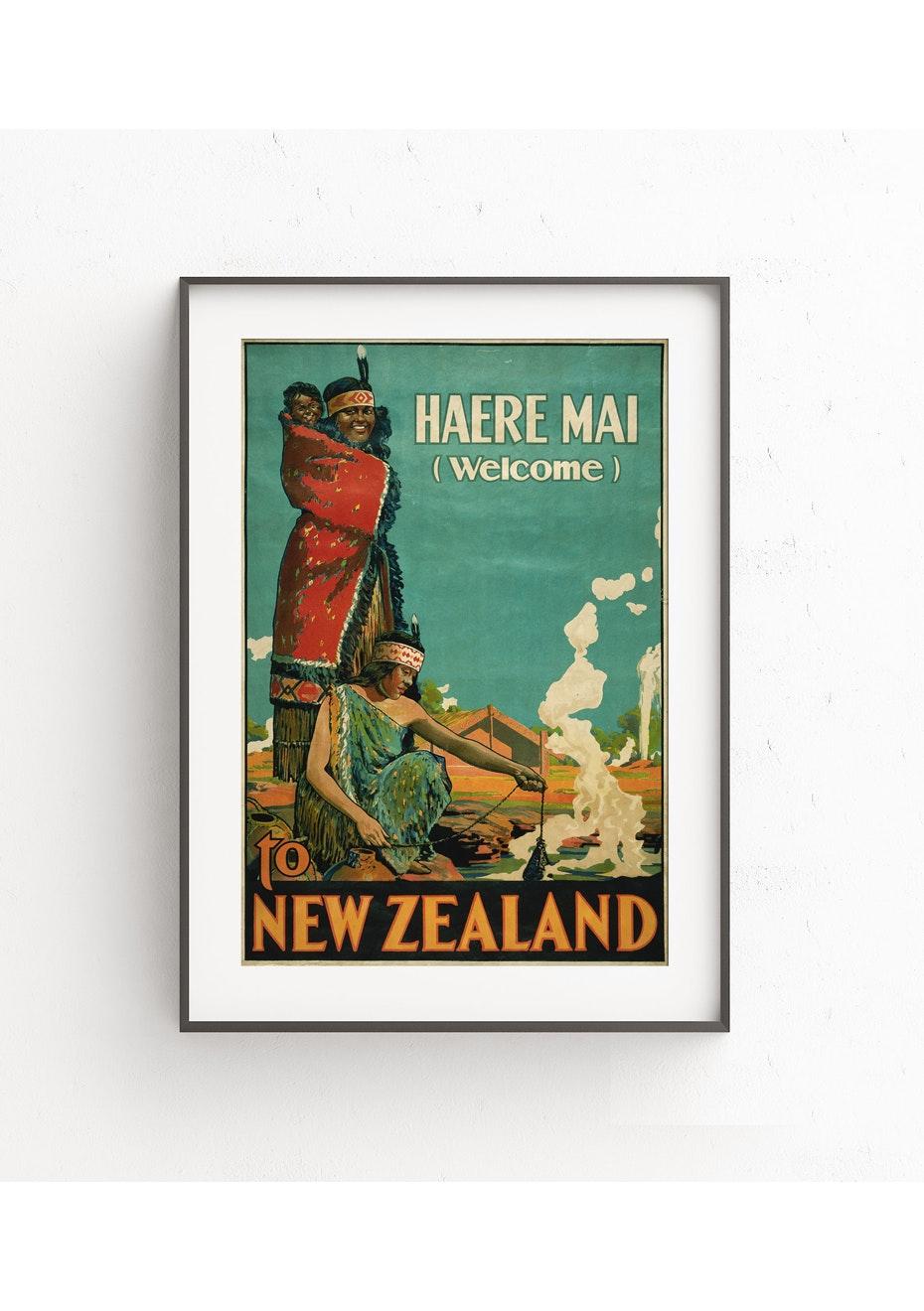 Haere Mai Vintage Tourist Print - A1