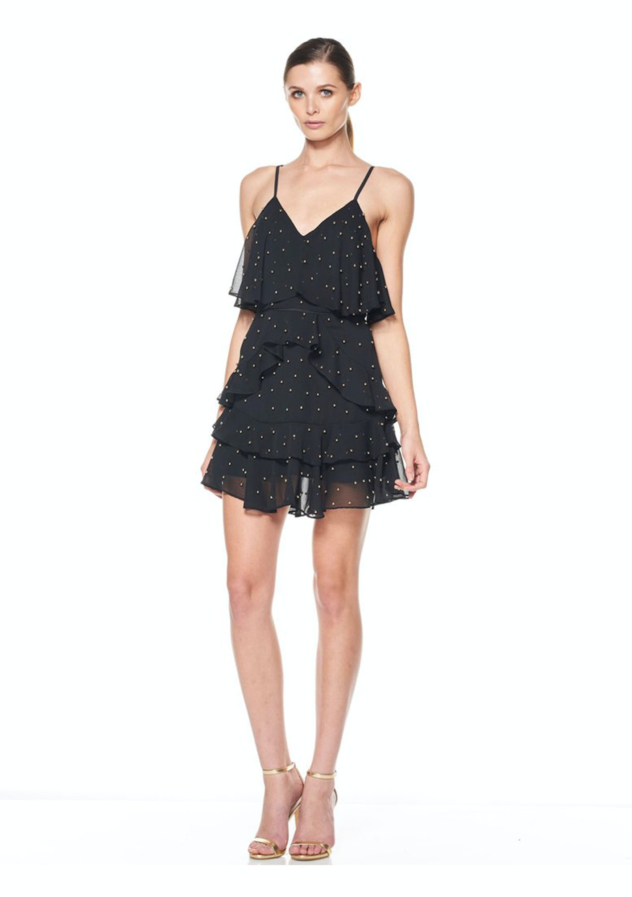 La Maison Talulah - Queen Of The Night Mini Dress - Black With Gold Ball  Sequin - Australian Designer Outlet - Onceit 71e784f41