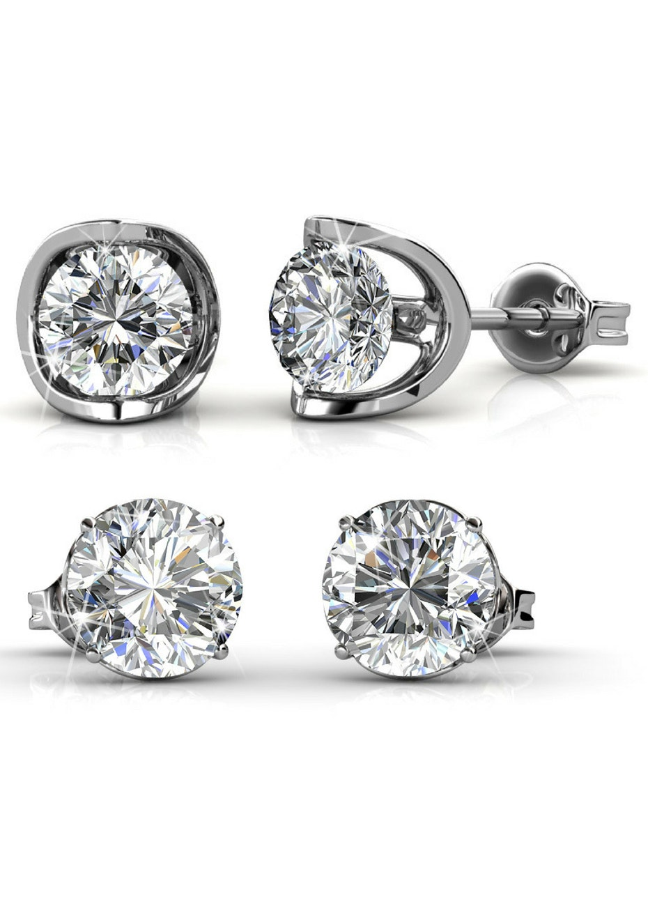 2 Pair Stud Earrings Set Embellished with Crystals from Swarovski