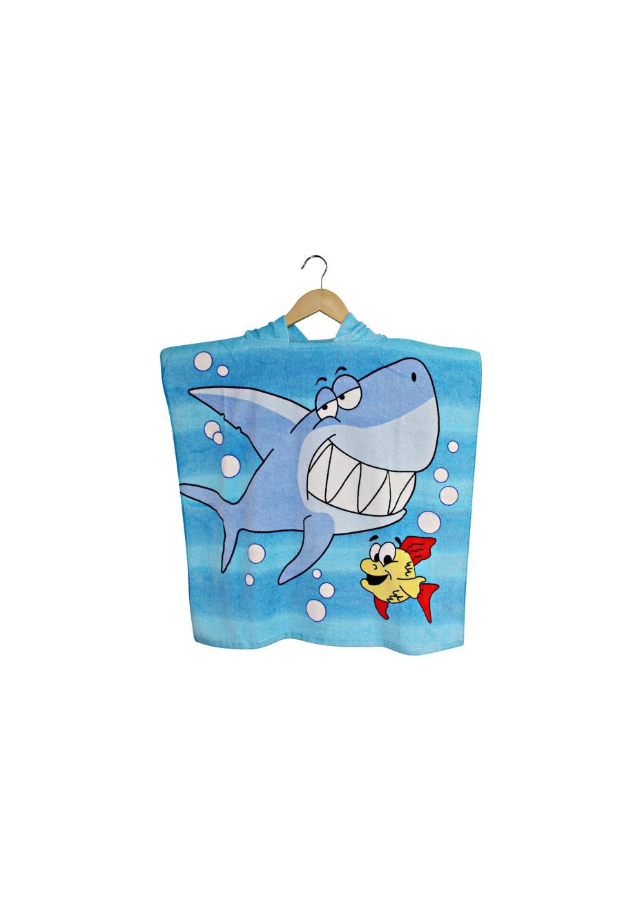 100% Cotton Kids Poncho 60x120cm Neck Size 5.5cm - Sammy Shark