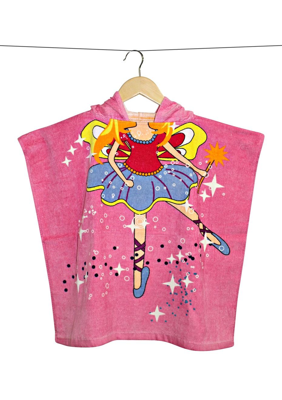 100% Cotton Kids Poncho 60x120cm Neck Size 5.5cm - Ballerina