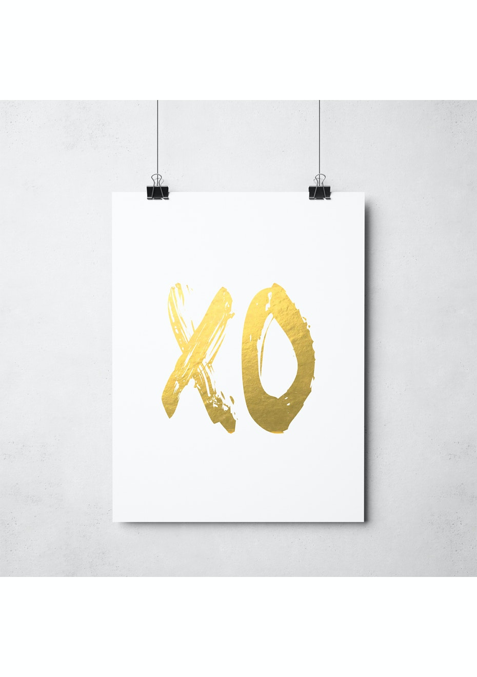 Simply Creative - Xo White - A3 Gold Foil Print