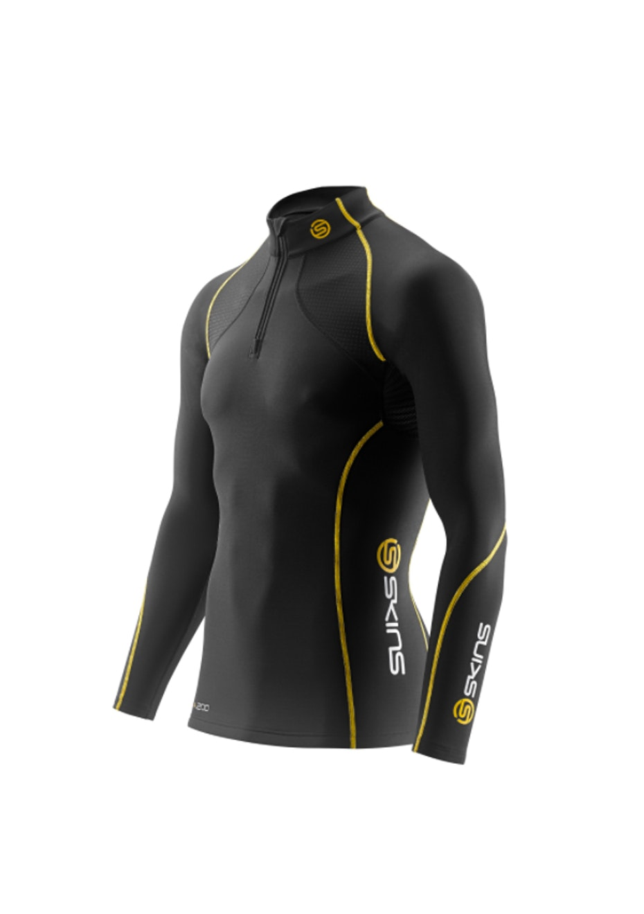 Skins -  A200 Bk/Yellow Long Sleeve Thera Top with Zip - Mens