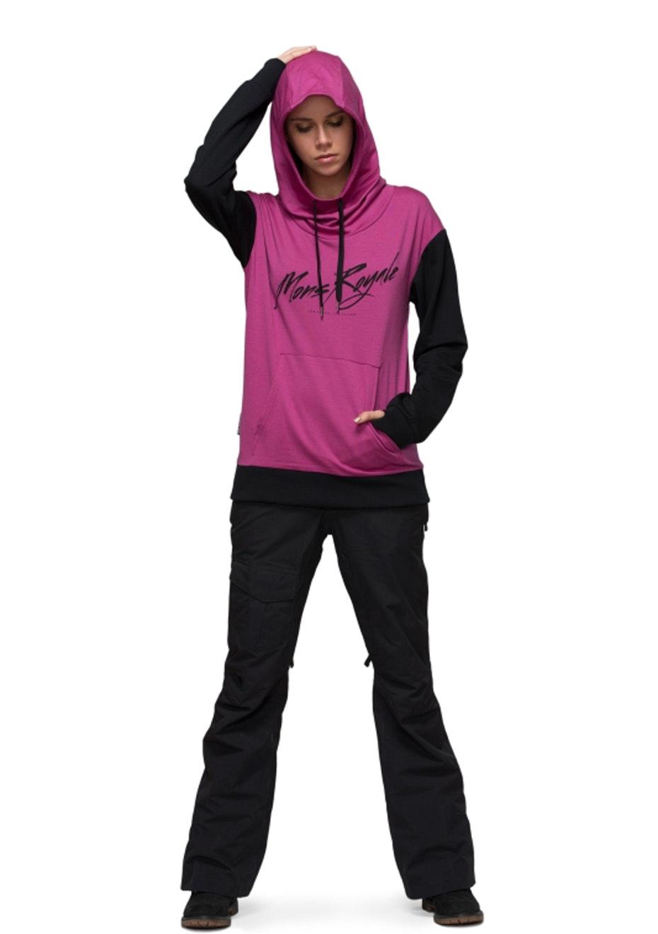 MONS ROYALE - Womens - Pullover Hoody Signature - Fuschia / Black
