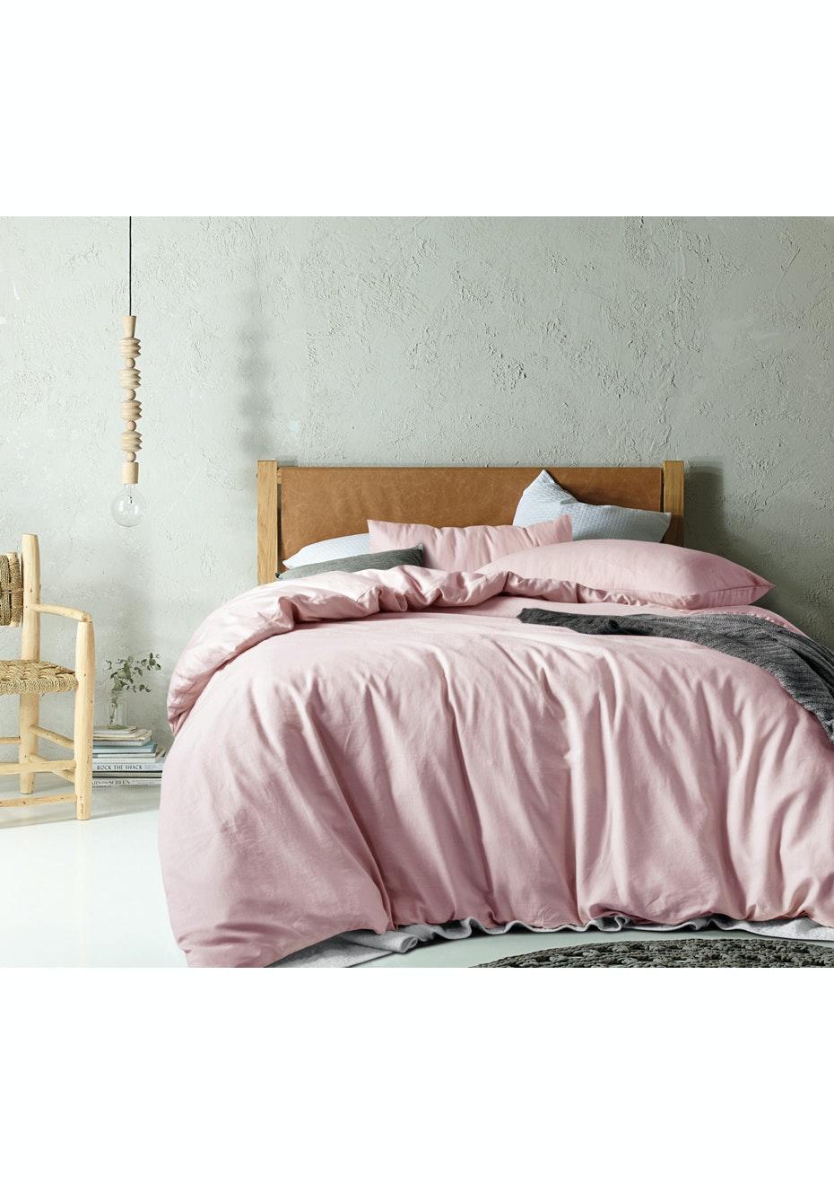 Linen/Cotton Blush Quilt Cover Set - Queen Bed